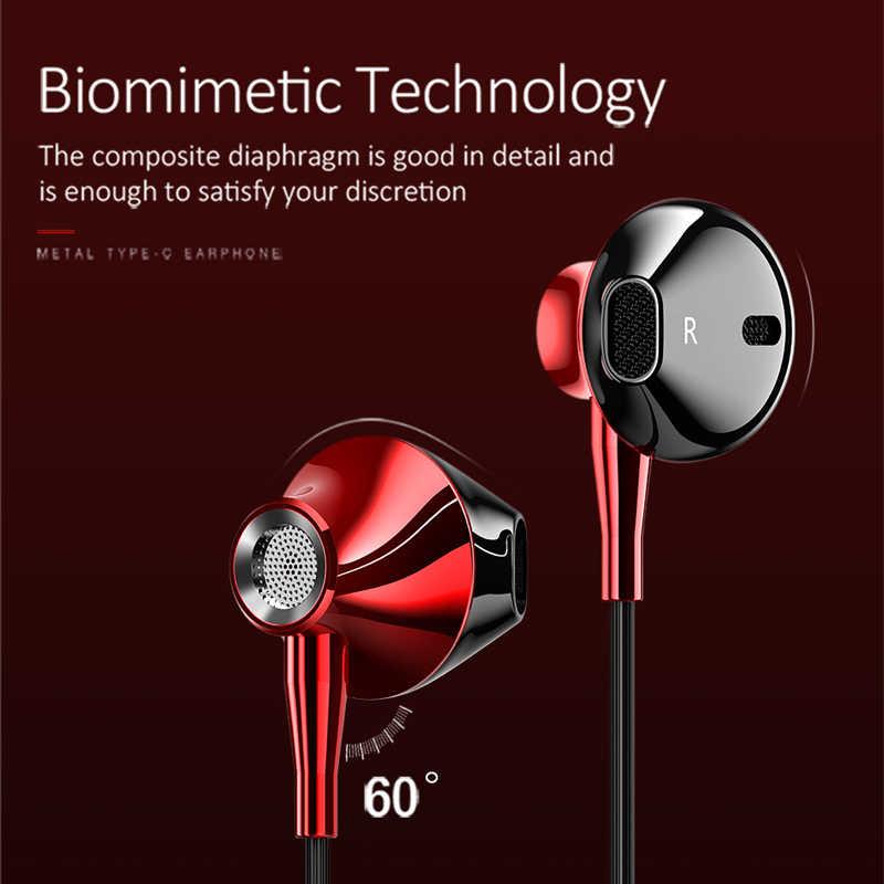 نوع C السلكية سماعة باس التحكم مع mi crophone في الأذن الرياضة سماعة Usb-c الأذن لهواوي شياو mi mi mi x 2s 8 SE 6X A2