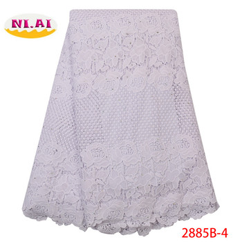 NIAI African Lace Fabric White Guipure Lace Fabric 2019 High Quality Nigerian Cord Lace Fabric For Wedding Dress XY2885B-4