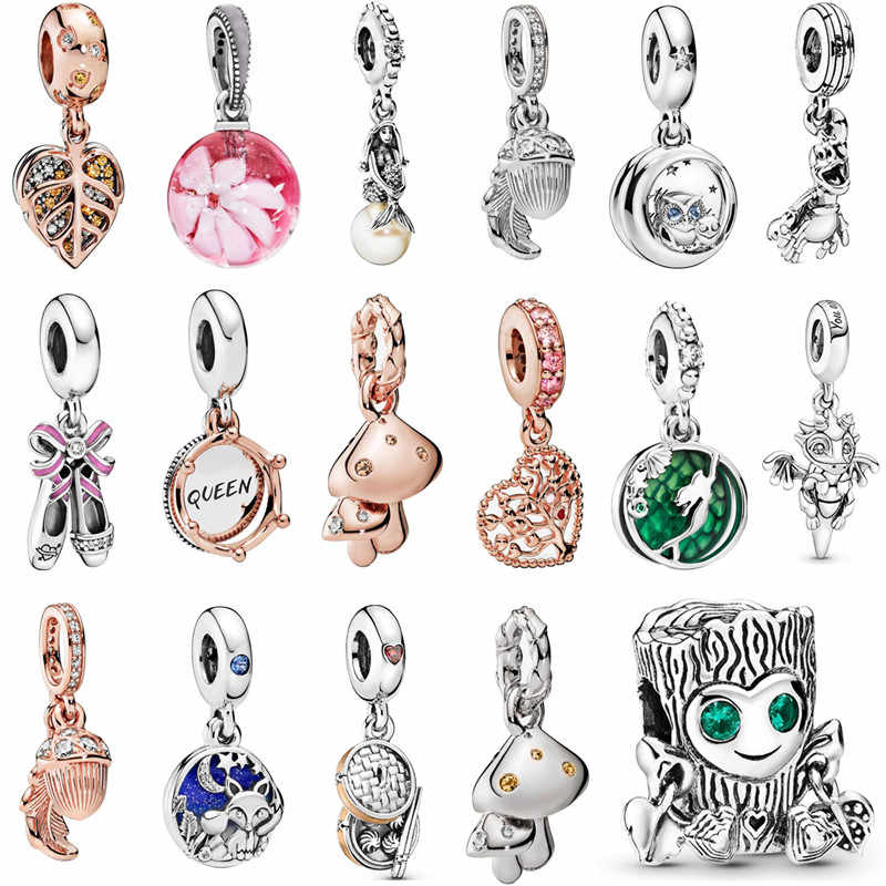 Fit Pandora Bracelet Bead Jewelry Fish Fox Luminous Ariel You Are Magic Dragon Bella Bot Punk Band Flower Glass Pendant Charm