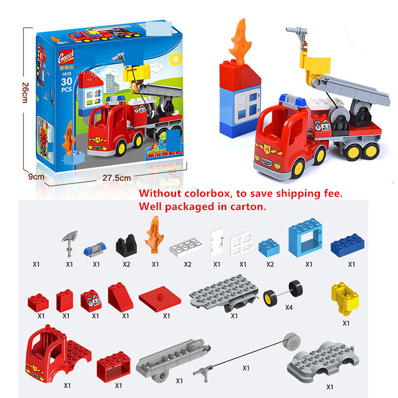 Bricks 30PCS Fire Brigade Pretend Play Juguetes Birthday Gift Education DIY Toys Building Blocks Fire Truck Duplo Boys Kids Gift in Blocks from Toys Hobbies