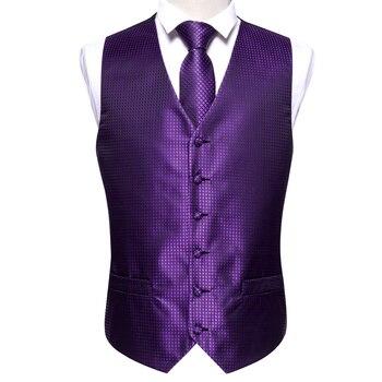 Designer Mens Classic Black Paisley Jacquard Folral Silk Waistcoat Vests Handkerchief Tie Vest Suit Pocket Square Set Barry.Wang 17