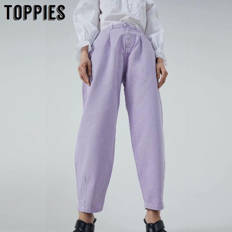 Toppies Denim Pants Women High Waist Harem Pants 2020 Loose Jeans Plus Size Trousers Women Casual Streetwear Pantalon Femme(China)