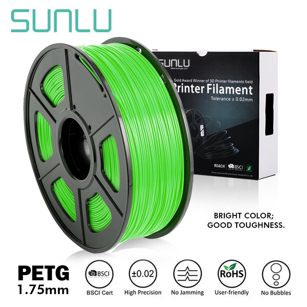 SUNLU PETG 3D Printer Filament 1.75mm 1KG/2.2LB Spool PET Printer Material 100% No Bubble Tolerance +-0.02MM