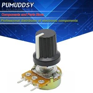 2PCS WH148 B10K B20K B50K B100K 3pin 15mm 1K 2K 5K 10K 20K 50K 100K 250K 500K 1M 1PCS wh148 + 1PCS AD2 knob Potentiometer knob