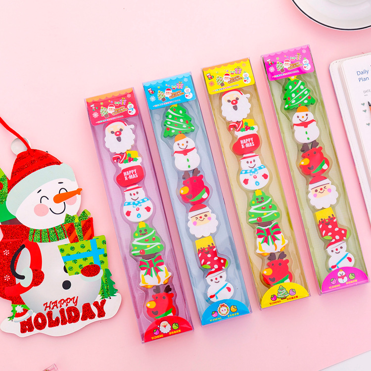 60 Pcs Cute Christmas Eraser Kawaii Pencil Eraser Kids Prizes Gift For School Stationery Supplies Student Drawing Writing Eraser
