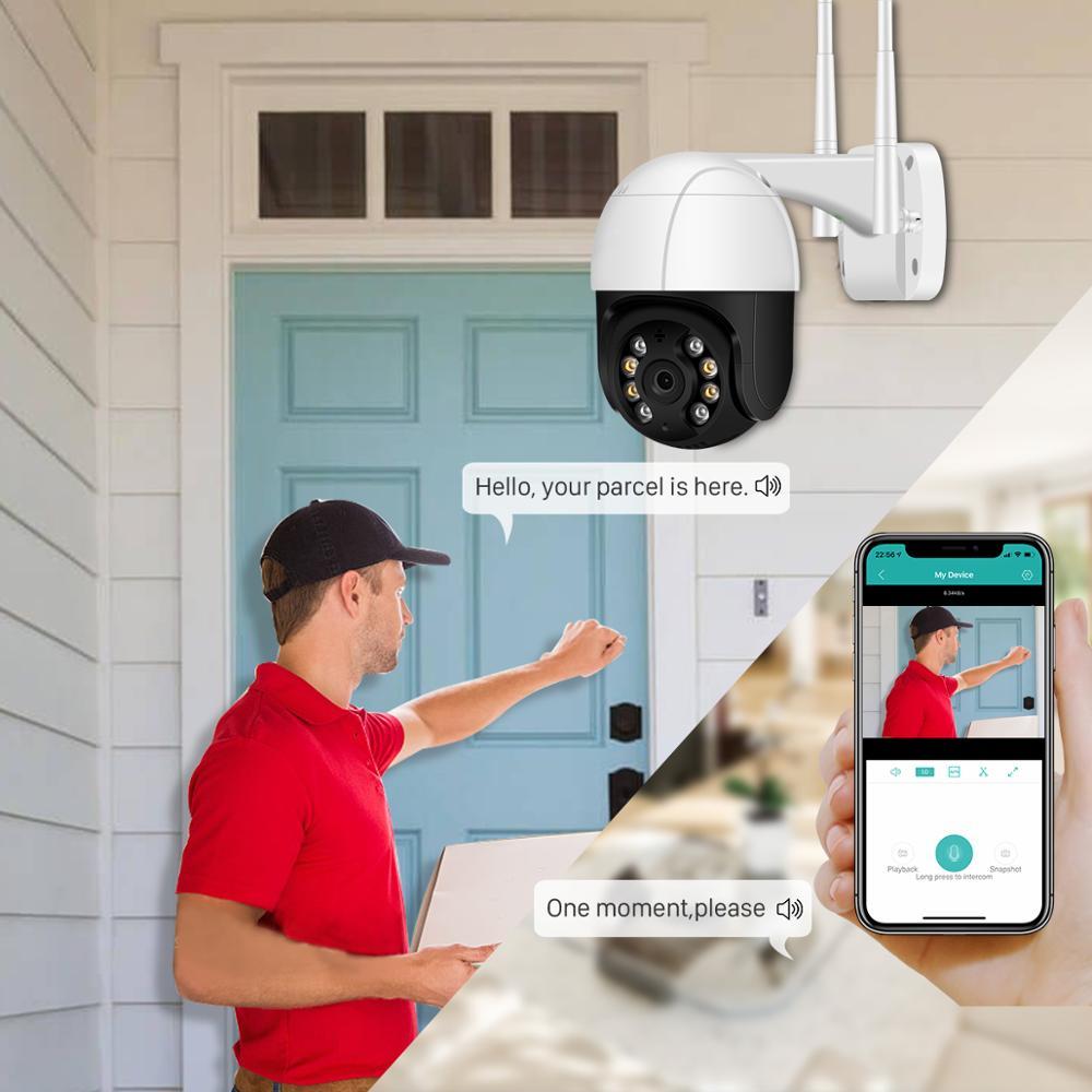 Wifi IP Camera Outdoor 4X Digital Zoom AI Human Detect Wireless Camera 4