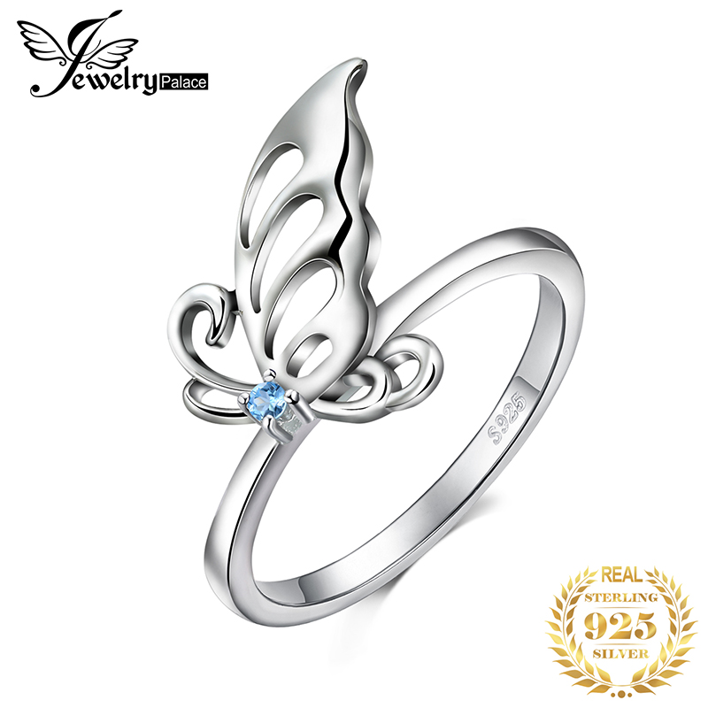 JewelryPalace Butterfly Created Light Blue Spinel Statement Ring 925 Sterling Silve Ring For Women Jewelry Gemstone Fashion Gift