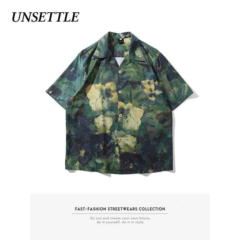 UNSETTLE 2020SS Harajuku Men Summer Streetwear Painting Print Hawaiian Shirts Hip Hop Fashion Casual Short Sleeve Tops Shirt