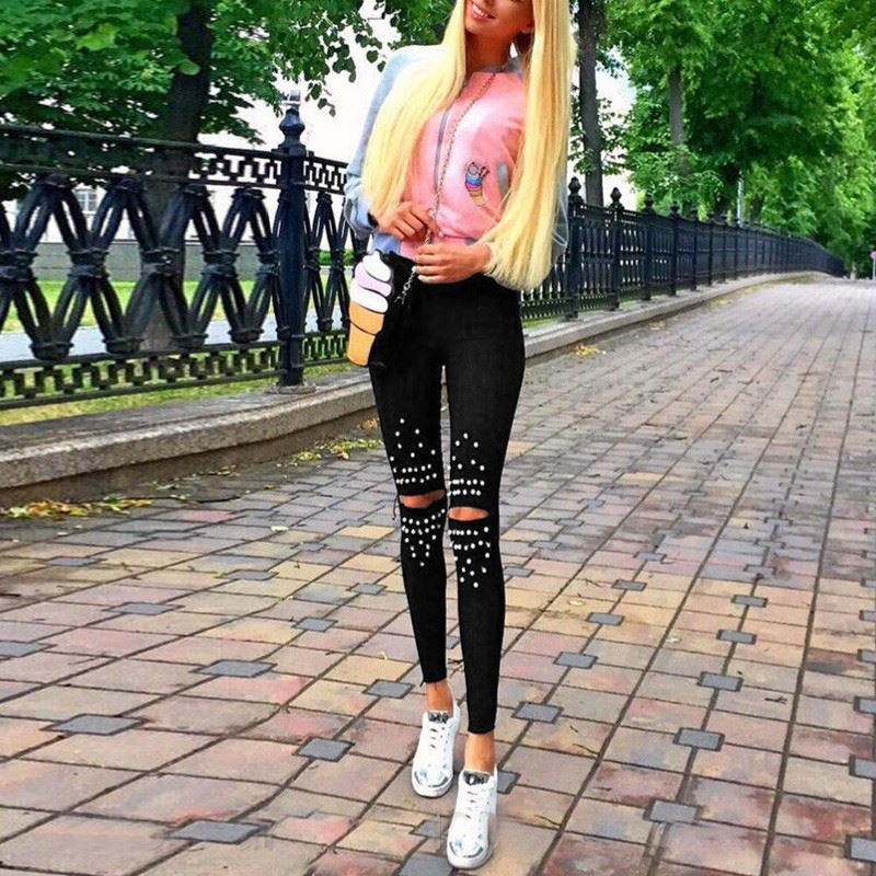 Black High-waist Hole   Jeans   Gold Chain Women's Ripped   Jeans   Casual Vintage Holes Boyfriend   Jeans   for Women Spring and autumn new