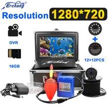 Erchang рыболокатор DVR подводная камера для рыбалки 7 ''HD 1280*720 Монитор 12PSC инфракрасный+ 12 шт. белые светодиоды с 16 ГБ TF картой