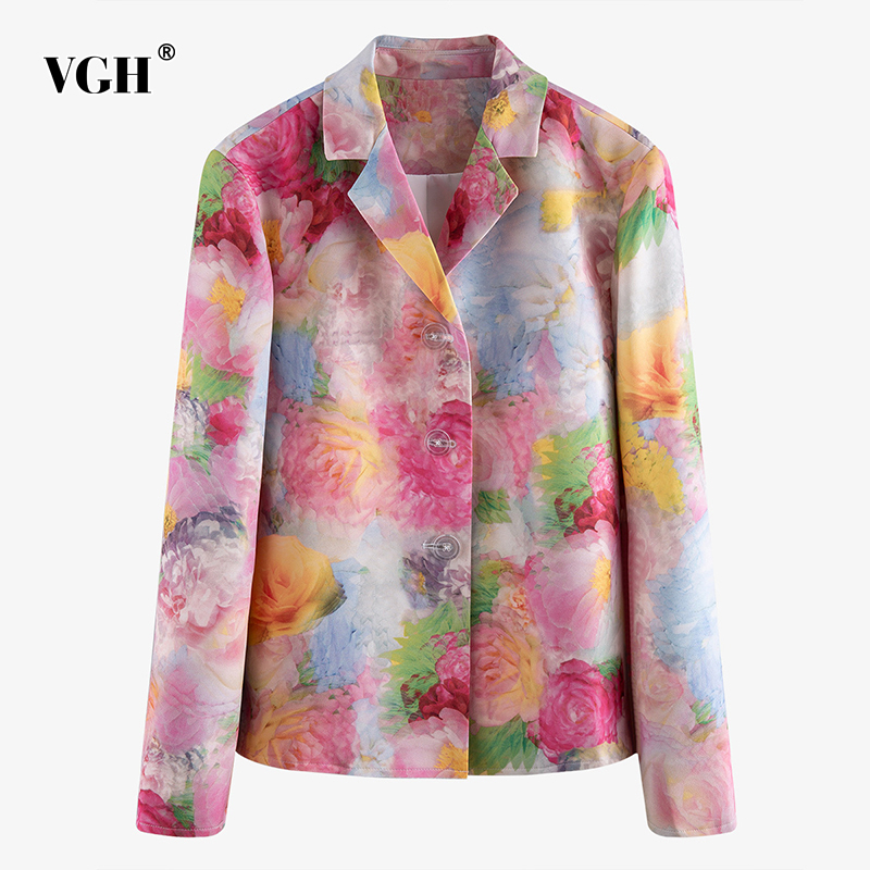 VGH Casual Print Women Blazer Notched Collar Long Sleeve Loose Elegant Hit Color Suit For Female Fashion Clothes 2020 Summer New