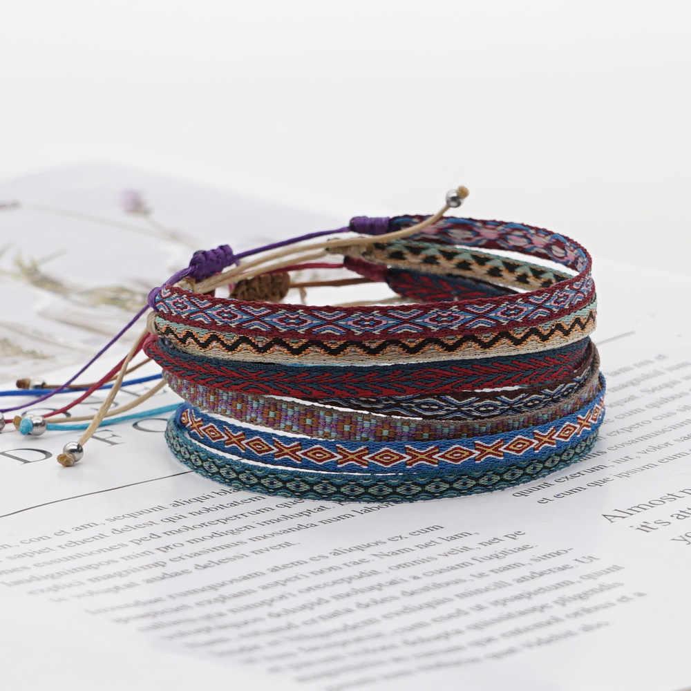 GO2BOHO自由奔放に生きるジュエリーのブレスレット編組生地布ブレスレット手織り2020新しい調整可能なボヘミアンpulserasリストバンド