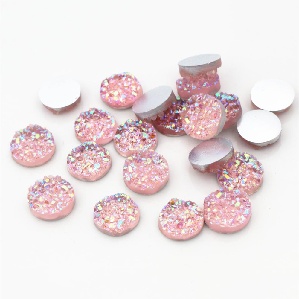New Fashion 40pcs 12mm Pink AB Colors Natural Ore Style Flat Back Resin Cabochons For Bracelet Earrings Accessories-V4-01