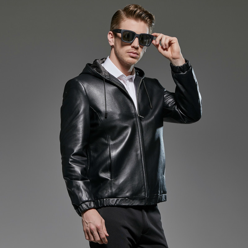 Spring Autumn Plus Size Genuine Leather Jacket Men Clothes 2020 Sheepskin Coat Hooded Casual Mens Leather Jackets 181715 KJ2289