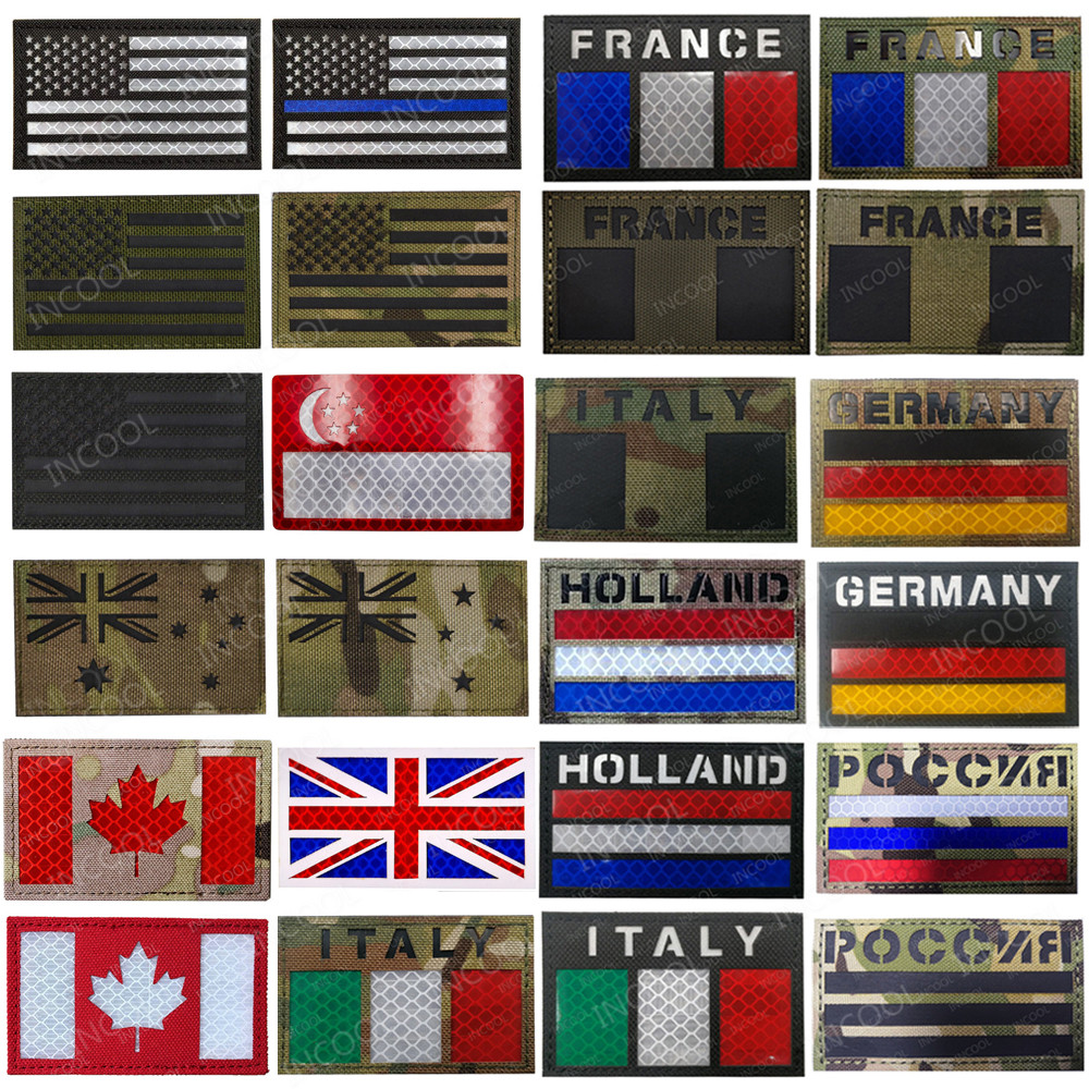 Spain France Germany Italy Russia UK US Holland Flag Patches IR Infrared Tactical Army Military Morale Reflective Flags Badges(China)