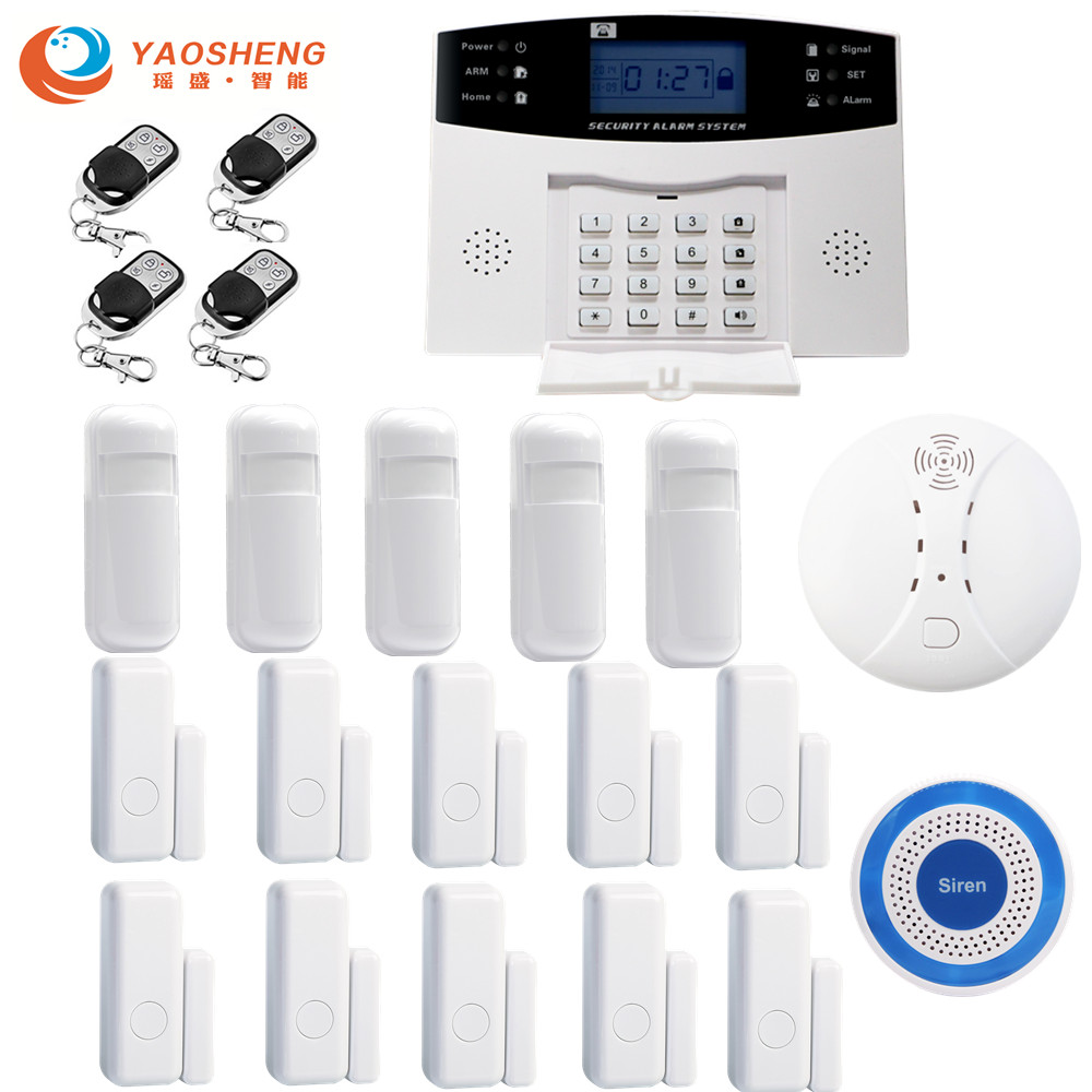 IOS Android APP Control Wireless Home GSM Security Alarm System LCD Display 433MHz Wired Detector Alarm Door Sensor image