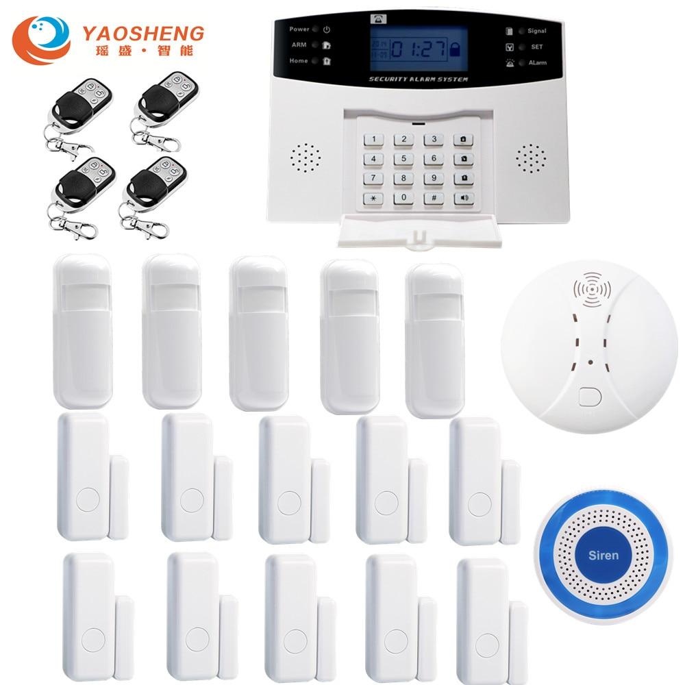 YAOSHENG IOS aplikacja na androida kontroli sieci bezprzewodowej w domu zabezpieczenie GSM System alarmowy wyświetlacz LCD 433MHz przewodowy detektor alarmu czujnik drzwi