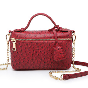Image 5 - Factory Wholesales Ostrich Clutch Bag Leather Handbag Chain Leather Clutch Tote Shoulder Bag Eleagnt
