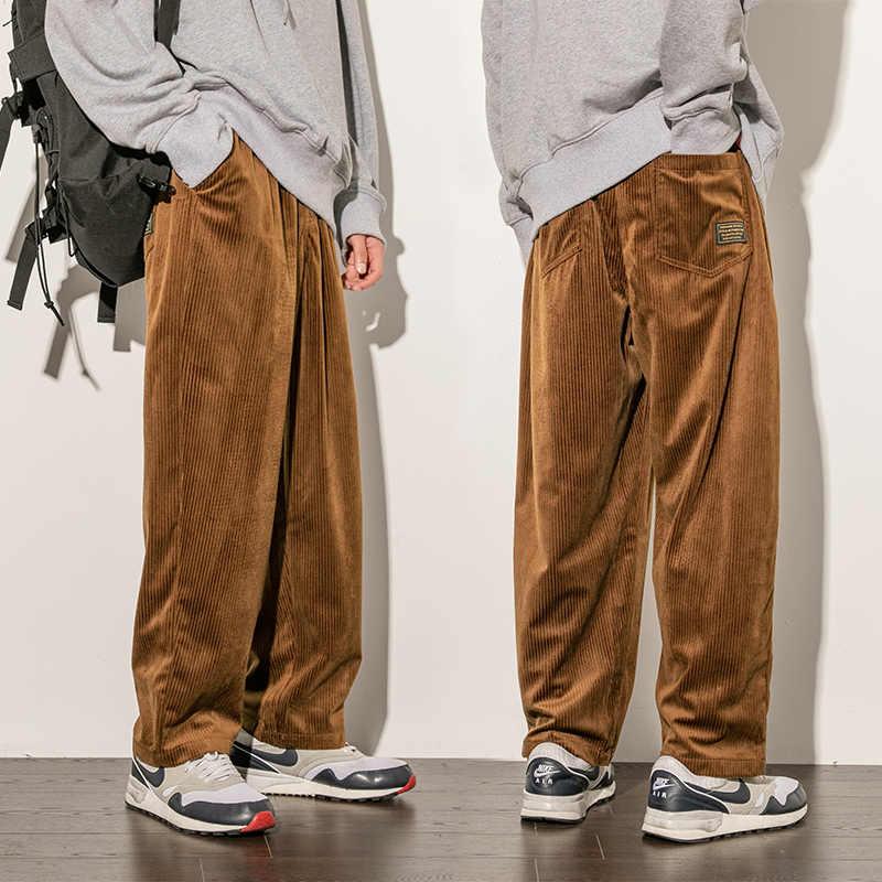 Pantalones De Pana Otono Invierno Hombres Casual Suelto Recto Pantalones De Hombre De Moda De Ancho Cordon En La Cintura Pantalones De Pana Pantalones Informales Aliexpress