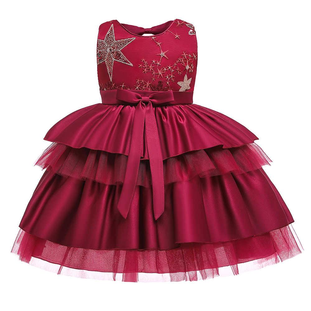 Kids Baby Meisje Bloem Bloemblaadjes Jurk Kinderen Bruidsmeisje Peuter Elegante Jurk Vestido Infantil Formele Party Jurk Wijn rood