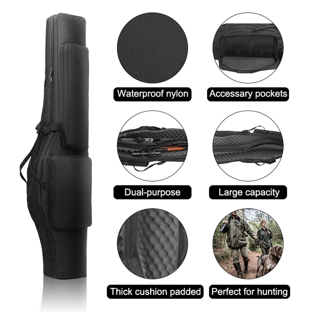Tactical 120cm Double-Layer Gun Bag Military Waterproof Rifle Pouch Holster Airsoft Gun Padded Case Carry  Hunting Accessories 2