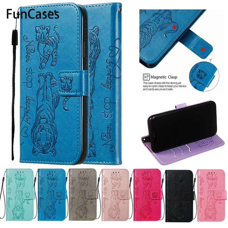 Flip Cover Solid Color Phone Case For Etui LG K40 Case For Coque LG K12 Plus Wallet Embossed Cat Leather Cover Cellular Phone