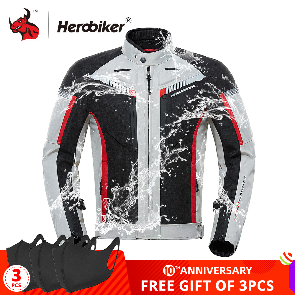 HEROBIKER SPRING Autumn Motorcycle Jacket Men Waterproof Windproof Moto Jacket Riding Racing Motorbike Clothing Protective Gear