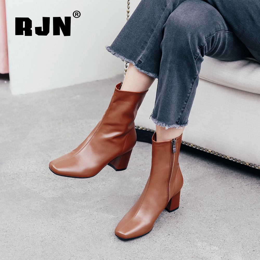 Promo RJN New Women's Boots High Quality Genuine Leather Comfortable Zipper Fashion Square Toe Handmade Shoes Elegant Ankle Boots RO75