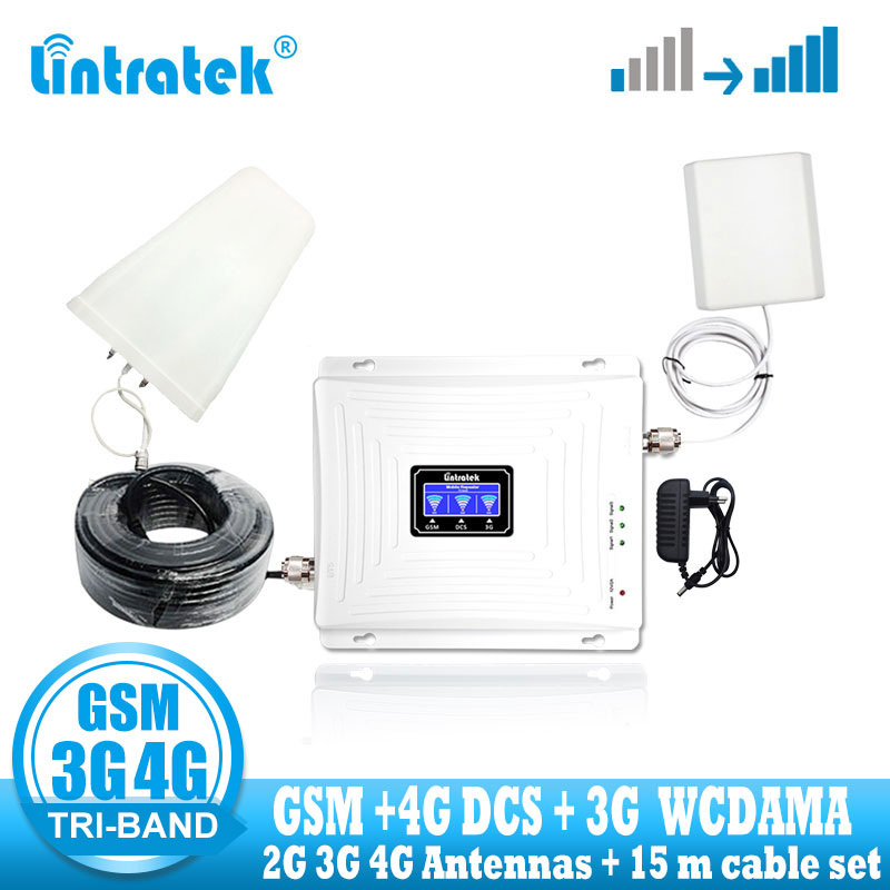 Repeater 2g 3g 4g Gsm Signal Booster Repeater Tri Band 900 1800 2100 DCS WCDMA GSM Cellular Signal Amplifier + Antenna Cable