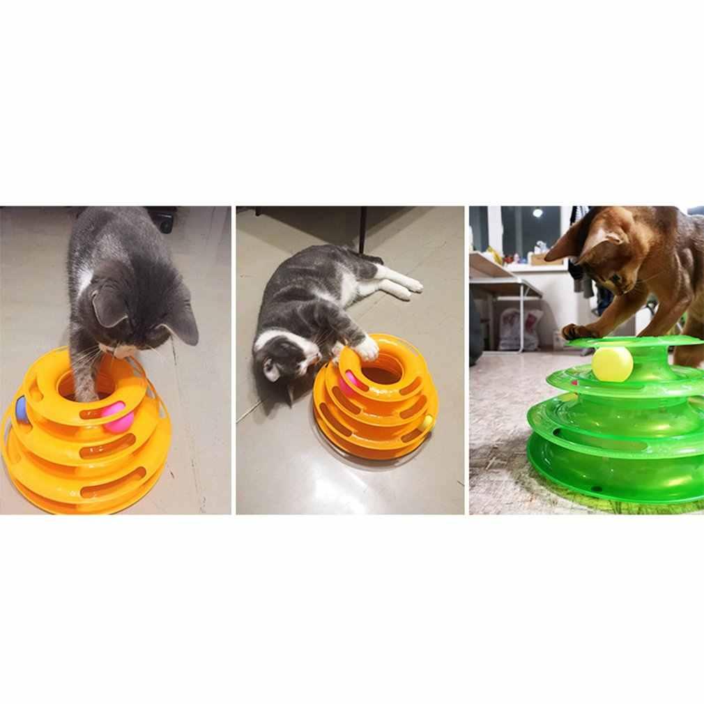 3 רמות לחיות מחמד חתול צעצוע מצחיק מגדל מסלולים דיסק חתול מסלולים צעצועי מודיעין אימון שעשועים צלחת חתול כדור צעצועי עבור חתולים