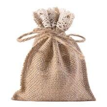 6/12/24pcs 10x15cm Jute lace Bags Jewelry Bag Sachet Empty Bag Gift Packing Bag Christmas Wedding Party Candy Bag
