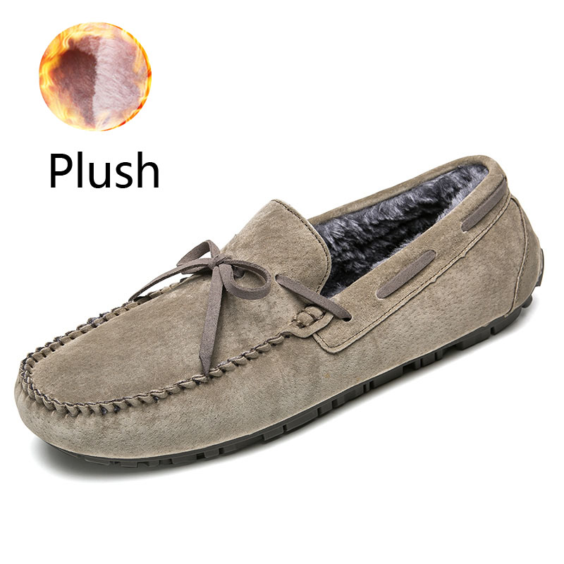 Slip On Driving Shoes For Men Khaki Winter Plush Mens Shoes Suede Loafers Fur Man Moccasins Leather Boat Shoes Male Casual Flats