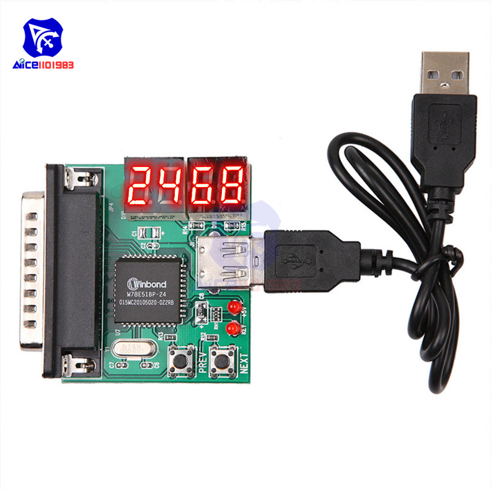 Diymore 4 Digit PC Mainboard Diagnostic Analyzer Card Motherboard Post Tester Card 4 LED Indication With USB Cable For PC Laptop