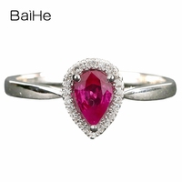 Solid 14k White Gold Solitaire with Diamonds 4x6mm Pear Cut Ruby Wedding Ring
