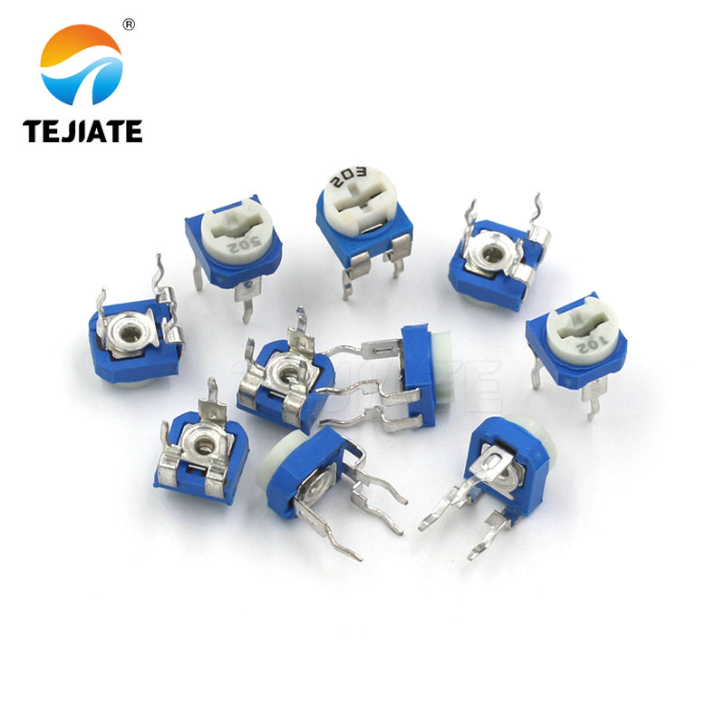 1Pack vertical blue white adjustable <font><b>resistor</b></font> kit 100 <font><b>ohm</b></font> -1M <font><b>ohm</b></font> 10kinds * 5 PCS=50PCS potentiometer image