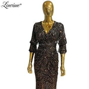 Image 2 - Vestidos De Fiesta De Noche siyah gümüş V boyun abiye pullu Kaftan kadın parti elbise 2020 ön bölünmüş yarık balo elbisesi