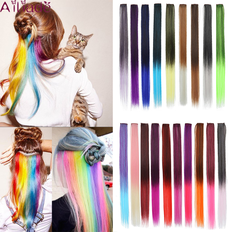 AILIADE 22inch Single Clip In One Piece Hair Extensions Rainbow Colors Synthetic Long Straight Ombre Pink Hairpieces For Women