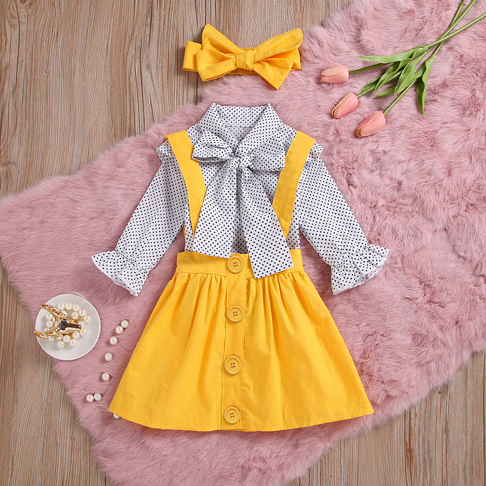 H5565a92a55b94b04b290c8ff431ae00eH - HE Hello Enjoy Baby Girls Clothes Sets Summer Dot Flying Sleeve Shirt+Strap Dresses+Headband Kids Children's Clothing Suit