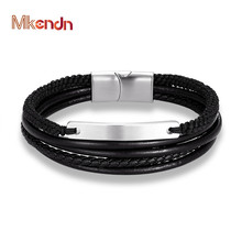 MKENDN Fashion Braid Multilayer Genuine Rope Leather Bracelet Stainless Steel Accessories Magnetic Clasp Wristband Male Jewelry