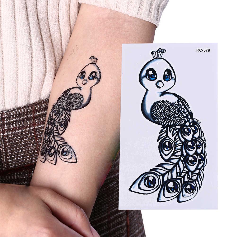 Waterdichte Leuke Oude School Tatto Mini Pauw Tijdelijke Tattoo Sticker Arm Pauw Stickers Flash Tatoo Fake Tatoeages Voor Vrouwen