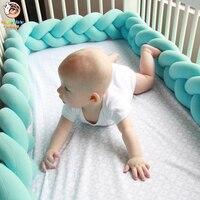Happymaty 2M baby bumper bed braid knot pillow cushion bumper for baby crib crib protector bumper room decoration
