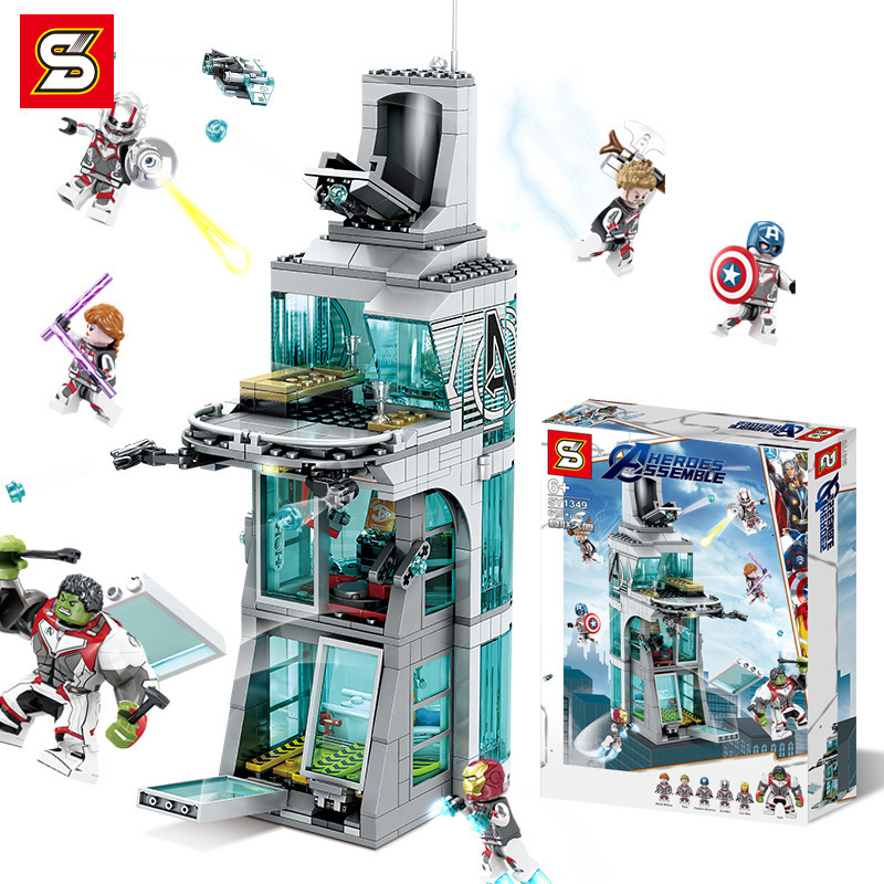 Sy1349 618pcs Super Heroes Attack On Avenger Tower Iron Man Hulk Building Block Kids Toy Figure Compatible With Legoing Marvel