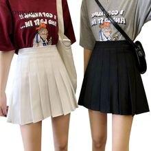 Черный белый цвет плиссированная летняя юбка женские мини юбки