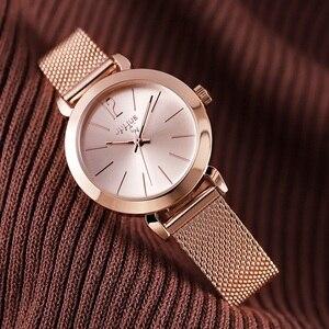 Image 5 - Reloj de pulsera de acero dorado y rosa para mujer, pulsera de malla plateada, relojes de cuarzo para chica, reloj sencillo informal para adolescentes
