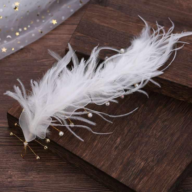 Filles cheveux ornements diadème blanc couleur bandeaux blanc plume couronne femmes fête fiançailles mariage cheveux accessoires mariée