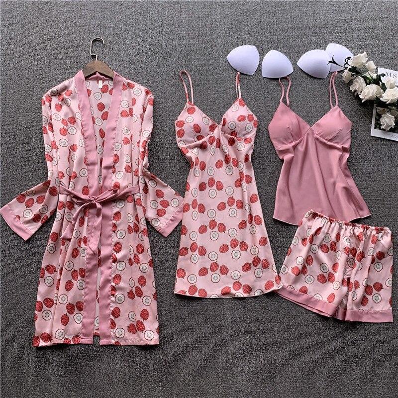 QWEEK 2020 Sleepwear Pijamas Mujer Silk Pyjamas Women Pajamas 4 Pieces Set Satin Sleep Lounge Sexy V-neck Nightwear Homewear