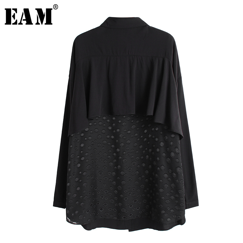 [EAM] Women Back Ruffles Perspective Big Size Blouse New Lapel Long Sleeve Loose Fit Shirt Fashion Tide Spring Autumn 2020 1R211