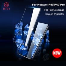DIVI 2 adet/grup temperli cam Huawei P40/P40 Pro HD tam kaplı anti parmak izi ekran koruyucular için p40 P40pro