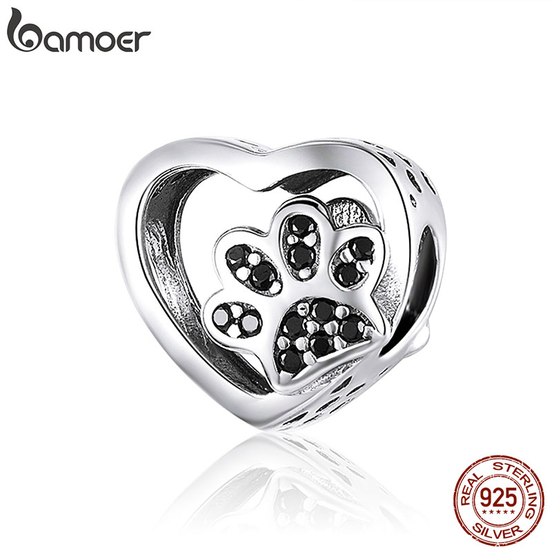 BAMOER Cat Love Heart shape Charm 925 Sterling Silver Paw Footprints Heart Charms for Bangle Bracelet