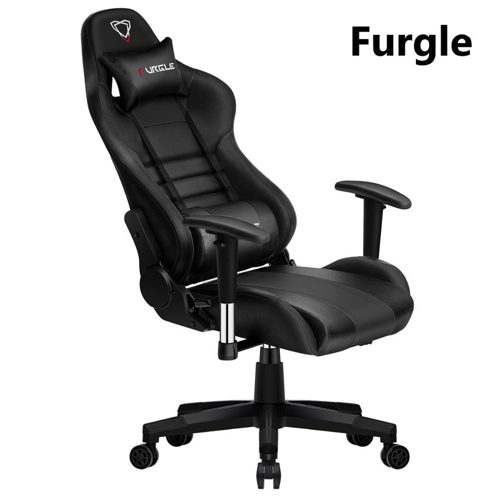 Furgle Black Wcg Computer Chaire Furniture Leather Boss Chair For Office/home/game Play Chair With 180 Reclining Chair Free Ship